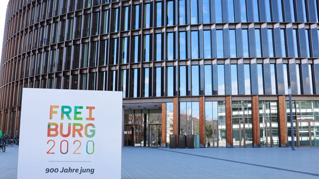 Freiburg's new Town Hall became the world's first public building to produce surplus energy when it was built in 2017 (Credit: Credit: Kat Barber)