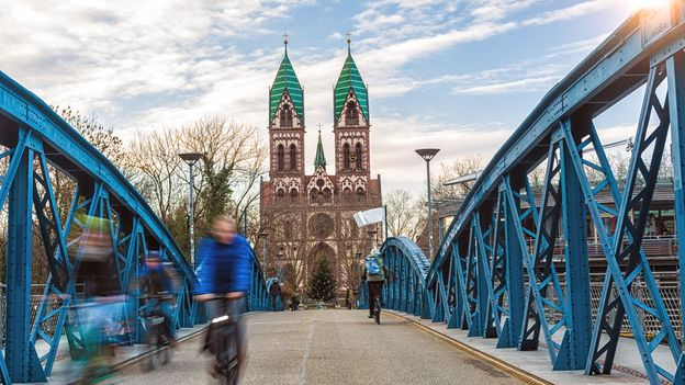 Freiburg's Wiwilíbrücke bridge is one of many city roads used by cyclists instead of cars (Credit: Credit: querbeet/Getty Images)